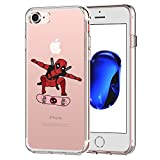 PICAVINCI iPhone 7 CASE,iPhone 8 CASE, Superher Skateboarding 3D Printed Cartoon Design Soft Clear TPU Cute Comics Funny Case