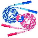Jump Rope Soft Beaded Segment Adjustable Tangle for Men, Women and Kids Girls and Boys Workout Fitness Exercises Training Skipping Gymnastics Weight Loss 2 Pack Blue and Pink 9 Feet