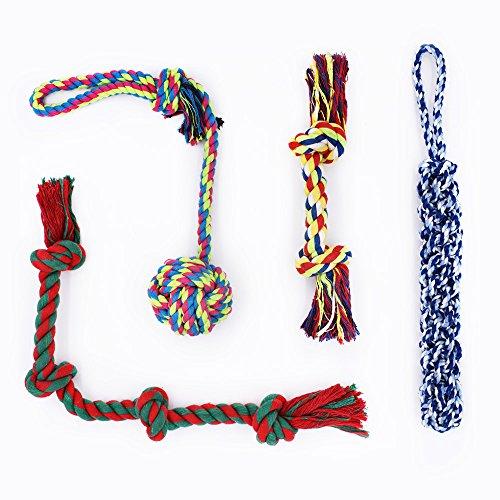 Rio Direct - Giocattoli per cani di taglia grande, corde robuste da masticare, set per masticatori compulsivi, cani di taglia grande e media, set regalo, 4 pezzi