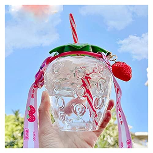 Botellas de agua lindas de 500ml de niños con pajitas, heladería creativa Fugas de fugas Botellas de agua plásticas, BPA Jarra de agua gratuita, correa de hombro ajustable, para viajes deportivos de c