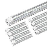 Kihung 8ft LED Shop Light Fixture, V Shape T8 Integrated Tube Light, 6000K Super Bright White, 9750LM, 75W, Linkable Strip Lights for Garage, Workshop, Basement, Plug and Play, Clear Lens, 8-Pack