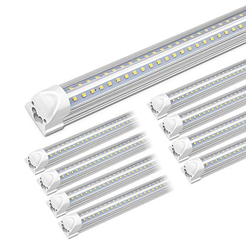 6000K Cool White 7200LM 8 Foot 72W LED Shop Light Fixture Flat Dual Row,...