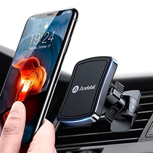 andobil Handyhalter fürs Auto Magnet Auto handyhalterung Upgrade 6 Superstark Magnete und 4 Metallplatten Lüftung KFZ Handyhalter 360° Drehbar für iPhone 11 11 Pro Samsung Galaxy Note10 S20 S10 Huawei