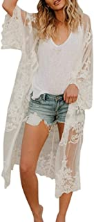 Women Lace Bohemian Beachwear Oversized Long Kimono Cardigan Coat Cover Ups