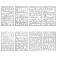 NABLUE Pack of 8 Plastic Alphabet Letter Number Drawing Painting Stencils Scale Template Sets For Bullet Journal Stencil Planner/Scrapbook/DIY Painting Craft Projects