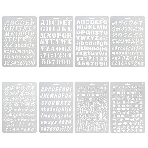 Stencil in Numero L'allfabeti Lettere Riutilizzabile Morbida Stencil per Scrapbooking /Disegno/graffiti/ Scrittura / L'Alcum Foto/ Decorazione da Parete, Regalo per Studenti Bambini Viaggiatori(Kit 8)