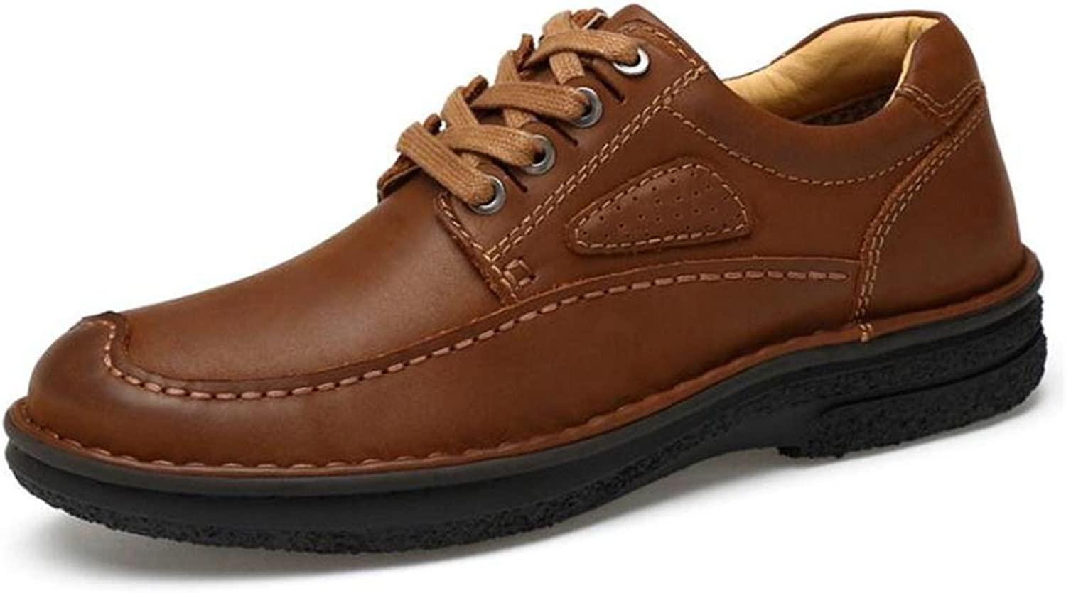 Men shoes Genuine Leather Lace Up Plain Toe Work Handmade Derby Size 38To 44