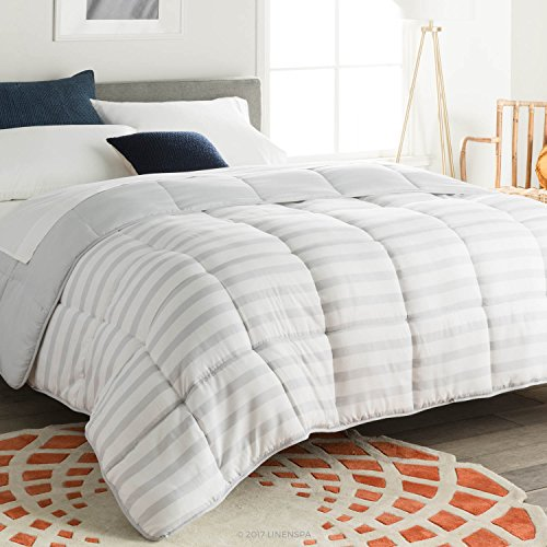 Linenspa All-Season Reversible Down Alternative Quilted Comforter - Hypoallergenic - Plush Microfiber Fill - Machine Washable - Duvet Insert or Stand-Alone Comforter - Grey/White Stripe - Full