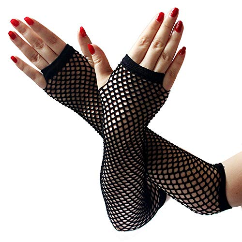 EROSPA® Netz-Handstulpen lang fingerlos Damen Handschuhe schwarz - Einheitsgröße