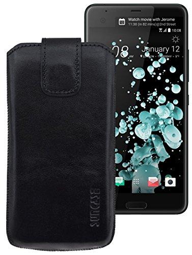 Suncase ECHT-LEDER Tasche Etui für HTC U Ultra (mit Rückzugsfunktion, Magnetverschluss) schwarz