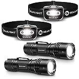 GearLight S500 LED Headlamp [2 Pack] + GearLight TAC LED Tactical Flashlight [2 Pack] Bundle