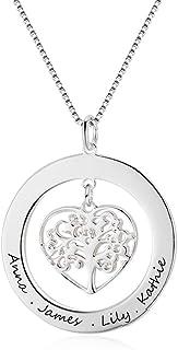 Namenskette 925 Silber Familienbaum Anhänger Flügel Perle Kette Gravur Herzen