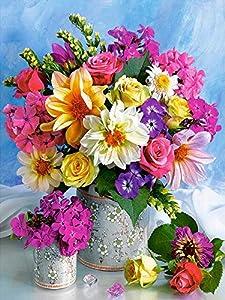 Juego de pintura de diamantes 5D DIY, jarrón de rosas, kit de punto de cruz, bordado, mosaico de diamantes, imagen de flores de diamantes de imitación, decoración del hogar A11, 30x40cm