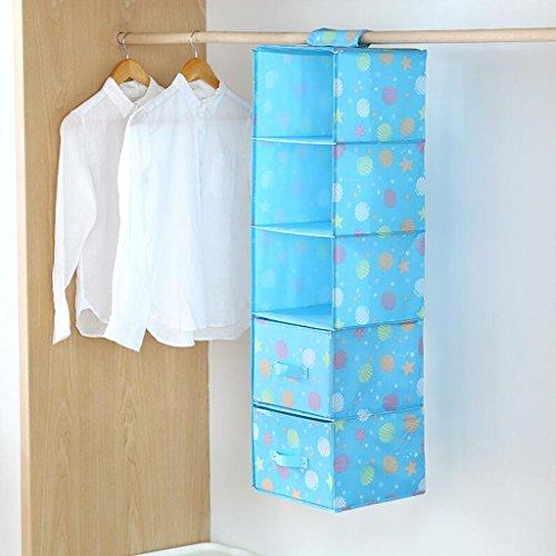 Blue Star Pattern Drawer Gardien de rangement Sac de rangement Hanging Clothing Sous-vêtements Sac de rangement Five Layers (27 * 28 * 102cm) Rollsnownow (Couleur : Three drawers)