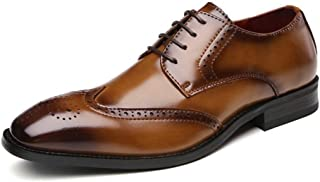 Leather Oxfords for Men Office Shoes Lace up Genuine Leather Square Toe Solid Color Brogue Carving Stitched Perforated shoes (Color : Brown, Size : 43 EU)