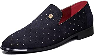 Men's Pointed Toe Rivet Dress Shoes Glitter Loafers Plus Size