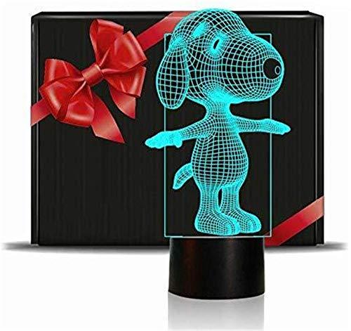 Lámpara de ilusión 3D Snoopy Night Light para niños, 16 colores cambiantes acrílico LED noche luz para niños niñas cumpleaños o vacaciones regalo