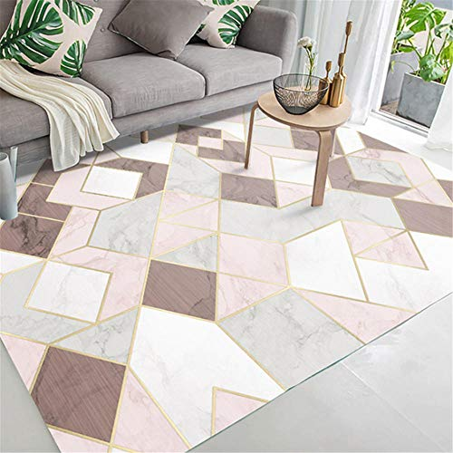 Xiaosua Mildew Proof breathable Carpets Modern fashion triangle square stitching pattern living room bedroom carpet easy to clean Bedchamber Rug Pink 60x90cm