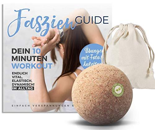 Faszienball Set 7 cm mit Faszien-Buch Anleitungs Hilfe & Aufbewahrungsbeutel (Trigger Faszienball für Triggerpunkt Zonen) Plantarfasziitis - Verspannungen lösen Selbstmassage Faszientraining Korkball