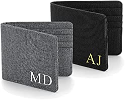 Personalised Wallet with Initials, Custom Mens Wallet, Initials, Fabric Wallet, Black, Grey, Fathers Day Gift, Best Man...