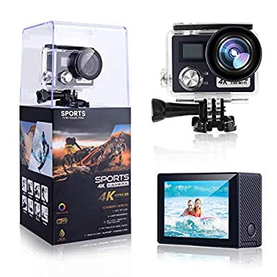 POSIVEEK 4K Action Camera, 24MP WiFi Sport Camera Ultra HD with 30M Underwater Waterproof Camera 170 Degree Wide View Angle 2 Inch LCD Screen Remote Control DV Camcorder with 2 Rechargeable Batteries by POSIVEEK