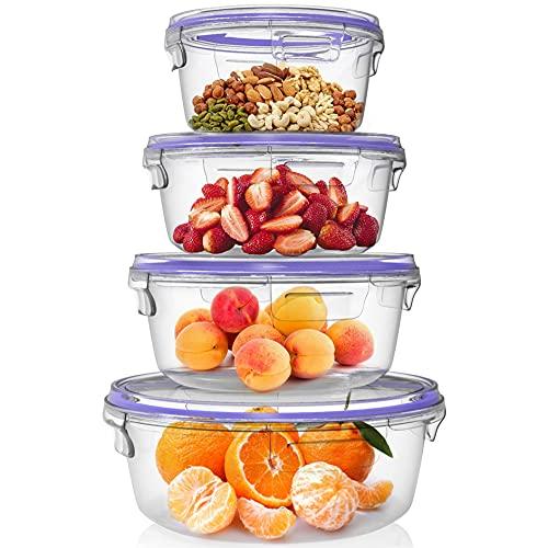 Home Fleek - Envases de Vidrio Circular para Alimentos | Recipientes Herméticos de Cristal | Apto para Lavavajilla, Microondas, Congelador | Sin BPA (Azul, Set 4)