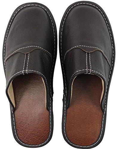 OSVINO Herren/Damen Hausschuhe Slippers Echtes Leder stabil weich komfortabel für Wohnzimmer Innenräume ganzjährig, Dunkelbraun Euro 40/41 (Label 28)