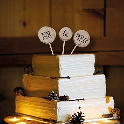 Veewon Mr & Mrs Wooden Round Shabby Chic Rustic Wedding Cake Topper Pick Decoration Favor