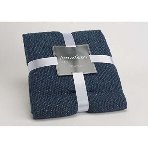 Amadeus - Plaid Maille Lurex Bleu Amadeus 130x170