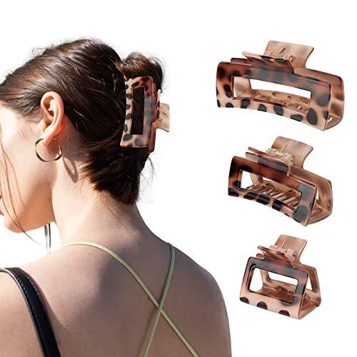 Emibele 3 Stück Haarklauenclips, Kunststoff Haarklammern Haarspangen Haargreifer Mittelgroße Haarkralle Haar Klaue Clips für Mädchen Damen - Leopardmuster