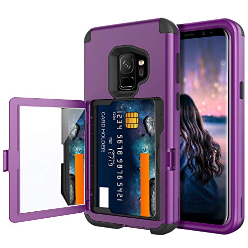 BENTOBEN Wallet Case for Galaxy S9, Shockproof Heavy Duty Rugged 3 in 1 Hybrid Hard PC Soft TPU Bumper Non-Slip Full-Body Protective Phone Case with Card Slot Holder for Samsung Galaxy S9, Purple
