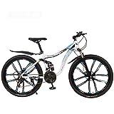 LJLYL Bicicleta de montaña Bicicleta de 26 Pulgadas, Bicicleta de Acero al Carbono MTB Bicicleta de Doble suspensión, Doble Freno de Disco,C,27 Speed