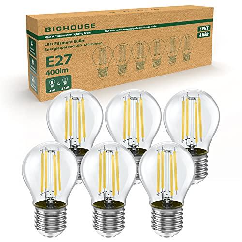 E27 LED Warmweiss, BIGHOUSE 4W Glühbirne Ersetzt 35W Halogenlampen, 400 Lumen, 2700K Warmweiß, 360° Abstrahlwinkel, E27 LED Filament, Klar, G45 Minikugel LED Leuchtmittel, Glas Vintage Birne, 6 Stück