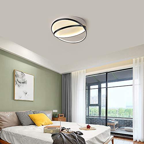 Lámpara de Techo LED para Dormitorio, Iluminación de Techo Moderna de Negro Regulable2 Circulo, Lámpara de techo de Hierro y Acrílico, Lámpara de Dormitorio con mando a distancia, 25W Ø42cm