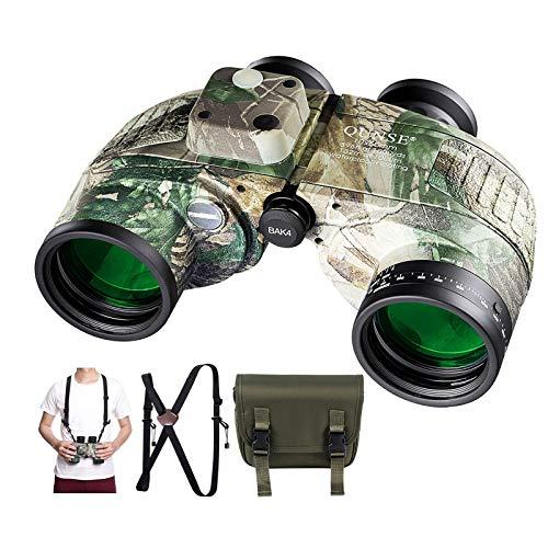 QUNSE BAK4 Nautisches Fernglas 10x50, mit entfernungsmesser - Entfernungsmessen mit dem Kompass, großes Objektiv für weites Feld (Tarnen)