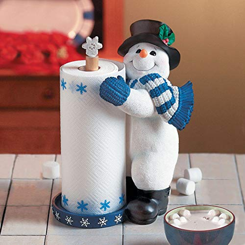 Smiling Snowman with Blue White Stripe Scarf Kitchen Towel Holder
