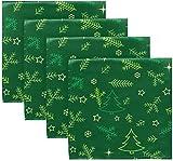 BONRI Juego de 2 servilletas de Tela de Copo de Nieve con diseño navideño, árbol de año Nuevo, Estrella de Nieve, Rama de Abeto, servilletas de poliéster Lavables para Mesa de Comedor, banque 20'X20'