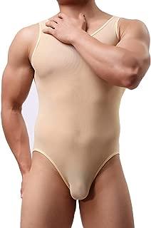 inlzdz Men's One Piece High Cut Thong Leotard Gymnastics Bodysuit Wrestling Singlet Underwear
