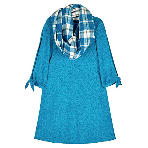 Amy Byer Girls' 7-16 Long Sleeve Dress with Scarf, New Holiday Teal, M