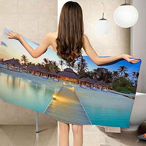 CGBNDS Telo mare mare villa paesaggio 76,2 x 152,4 cm extra large asciugamano in microfibra per spa, nuotatori, viaggi, campeggio, palestra, yoga, piscina e bagno per uomini e donne adulti bambini