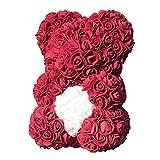 Everpertuk Ours Fleurs Artificielles en Forme de Ourson Cadeau Décoration pour Mariage Saint-Valentin Anniversaire Fête Vin Rouge Coeur Blanc 24 * 17cm
