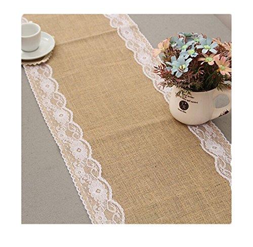 Lalang Jute Spitze Tischläufer Laendliche Hochzeit Upholstery Dekoration tischdecken leinwand und spitzen vintage Jutestoff 275*30cm