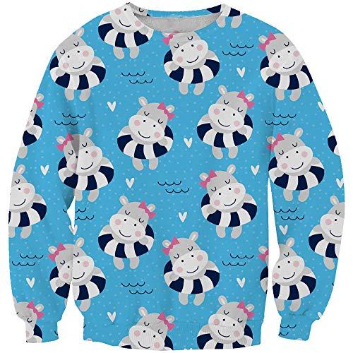Ocean Plus Mädchen Langarm Digitales Drucken Einhorn Sweatshirt Geburtstag Teenager Kinder Sport Langarmshirt Pullover (S (Körpergröße: 105-115cm), Schwimmringe Einhörner)
