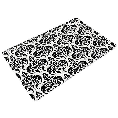 Sanixa PA32000 Anti-slip badmat Barok zwart-wit 60 x 40 cm extra dun sneldrogend badkamertapijt douchemat douchemat antislip