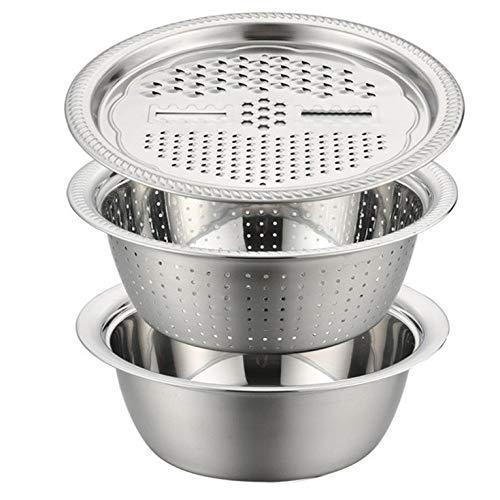 #N/V 26 cm Edelstahl 3-in-1 Gemüsehobel Korb Abfluss Waschbecken Zerkleinerer Waschen Filter Schüssel Home Gadgets Küchenwerkzeug