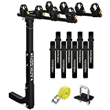 """Arksen 4 Bike Rack Hitch Mount Swing Down Bicycle Carrier Foldable Rack With Anti-Rattle Hitch-Tightener Fit Cars, Trucks, SUV's and minivans with a 2"""" Hitch Receiver"""
