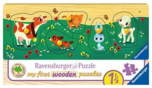Ravensburger Kinderpuzzle 03235 - Liebste Tierfreunde - 5 Teile Holzpuzzle