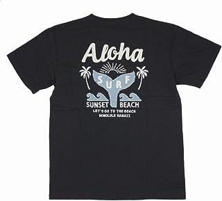 ALOHA MADE アロハメイド メンズ 半袖 Tシャツ (メンズ チャコールグレー) 202MA1ST133 デニム貼り付け 刺繍柄 フララニ ハワイアン雑貨 (M)