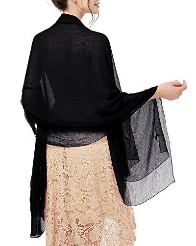 bridesmay Damen Strand Scarves Sonnenschutz Schal Sommer Tuch Stola für Kleider in 29 Farben Black