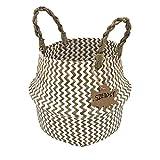 Szetosy - cesta de junco marino natural tejida a mano, con asa, para almacenar juguetes, ropa sucia o como maceta, estilo#2, 22cmx20cm